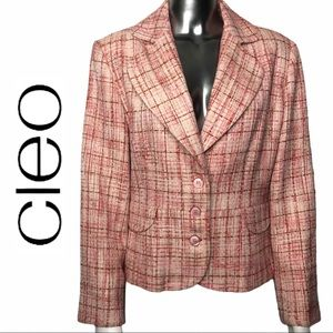 Cleo Plaid Tweed Lined 3 Button Blazer Size 12P